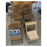 11 Metal Folding Chairs & 1 Vintage Wooden Chair