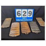 5 Cast Iron Corn Stick Pans