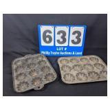 2 Cast Iron Muffin Pans