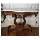 Lyre Base Marble Top Sofa Table