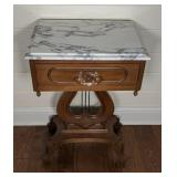 Lyre Base MArble Top Night Stand