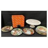 Milk Glass Cake Plate, Collector Plates & More