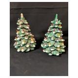 2 Vintage 10 Inch Ceramic Christmas Trees