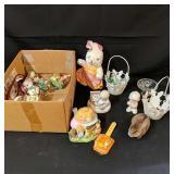 Lot Box of Easter Decor & Precious Moments
