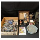 Lot Box of Flatware & Home Decor