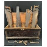 Large Antique Carpenter Tool Box & Tools