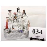 Porcelain Asian Nude Females Statue