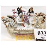 Porcelain Asian Females in Dragon Float