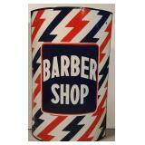 Rare Lightning Bolt Porc Barber Shop Sign