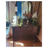 Antique Dresser With Mirror Excluding Contents