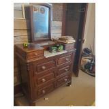 Antique Marble Insert Dresser W/ Mirror