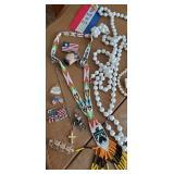 Glass Dresser Box & Costume Jewelry, Watch