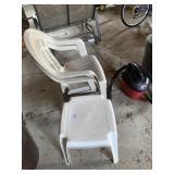 2 Plastic Chairs, 2 Plastic Footstools