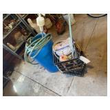 Blue Barrel, Garden Hoses, Milk Crates, Misc