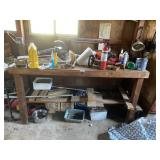 Contents Of Wooden Workbench ( Weedeater, Fire