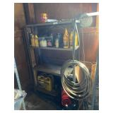 Metal Stand & Contents (hose, Transmission Oil,