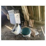 Toilet, Toilet Box, Wood Pieces, Plastic Tubing