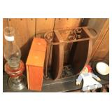 Oil Lamp, Drawer, Contents Of Bench