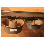 Two Cake Pans & Primitive Kitchen Tools