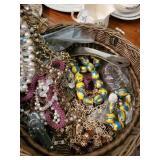 Basket Of Costume Jewelry