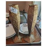 2 Vases (1 Broke) & Candle Holders