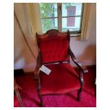 2 Victorian Red Velvet Upholstered Chairs