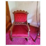 Victorian Rocker W/ Red Velvet Upholstery