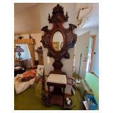 Antique Hall Tree W/ Mirror &  Umbrella Stands