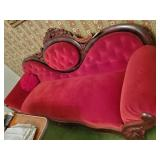 Victorian Sofa Red Velvet Upholster