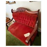 Victorian Red Velvet Love Seat