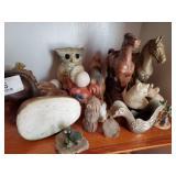 Buffalo, Horses, Owl, Dog & Cat Figurines