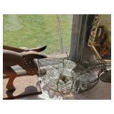 Wire Hen W/ Glass Knob, Horn & Misc