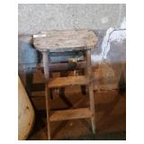 Wooden Step Stool & Wooden Bench