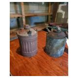 2 Metal Kerosene Cans W/ Wooden Handle