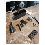 Assorted Cast Iron Pieces, Blow Torch, Domino, Sal