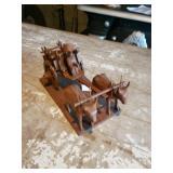 Wooden Wagon W/ Oxen