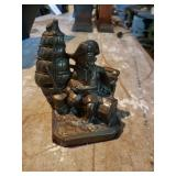 Pair Brass Book Ends & Basket W/ Glass Grapes