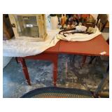 Red Drop Leaf Table ( Contents Not Included)