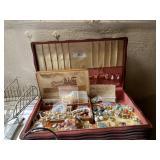 Box Of Costume Jewerly & Assorted Iron Knick Knack