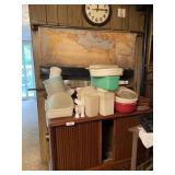 Shelf W/contents- Assorted Kitchenware, Clock, Map