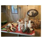 Table & Contents- Vases, Bowls & Contents On Wall-
