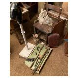 Chair, Horse End & Assorted Knick Knacks