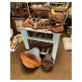 Stand & Contents- Assorted Wooden Knick Knacks