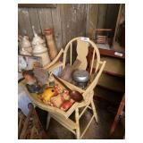 Wooden High Chair & Knick Knacks