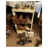 Stand & Contents- Wooden Storage Boxes, Chimney Br