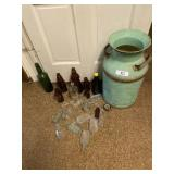 Assorted Glass Bottles, & Milk Can