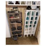 Shelf Of Antique Insulators & Antiquw Irons