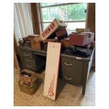 Desk Contents- Wooden Boxes, Old Phone, Vise & Mis