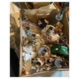 Box Of Assorted Glass Bottles & Glass Lamps