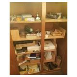 contents of wood cabinet